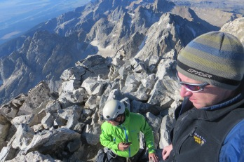 The Grand Teton: on top of the highest peak in the Tetons.